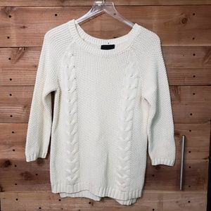Cynthia Rowley Cable Knit Faux Button Back Sweater